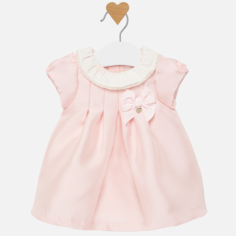 Mayoral Newborn Girl Twill Dress with Satin Finish