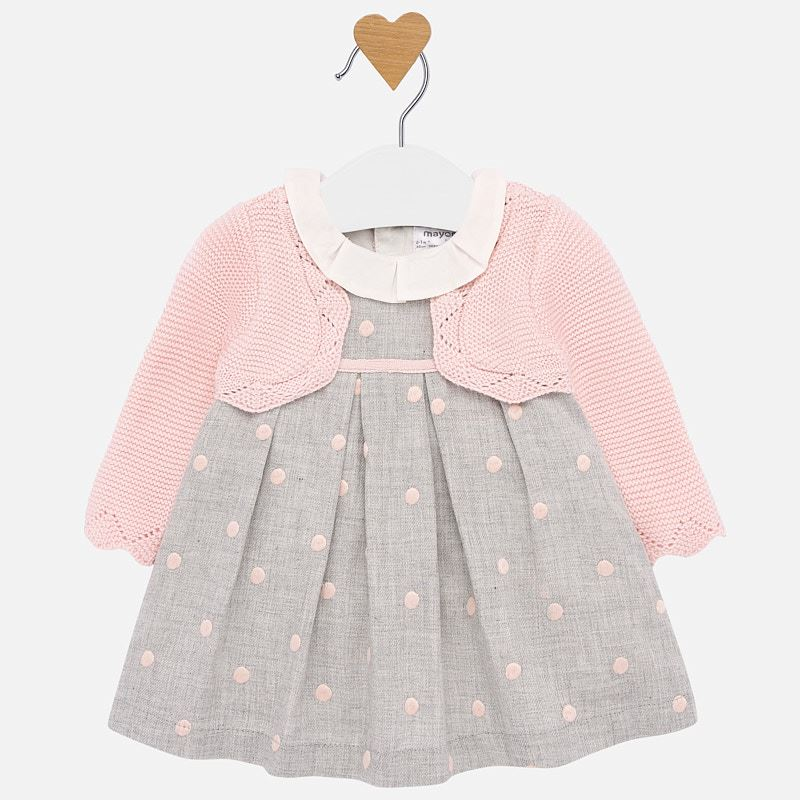 Mayoral Baby Girl Polka Dot Dress with Cardigan
