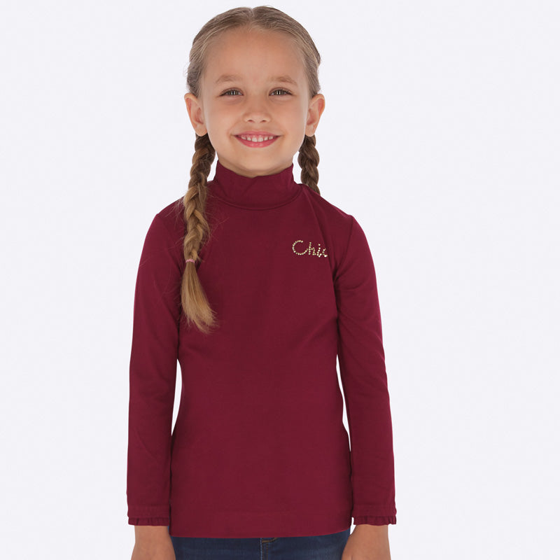 Mayoral Girl Long Sleeved Mock Neck Shirt