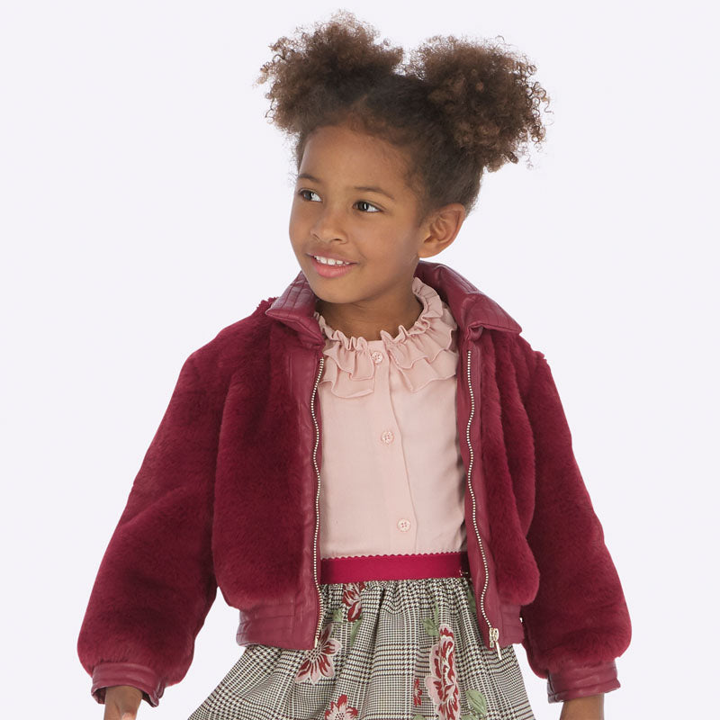 Mayoral Girl Faux Fur Coat with Shirt Collar