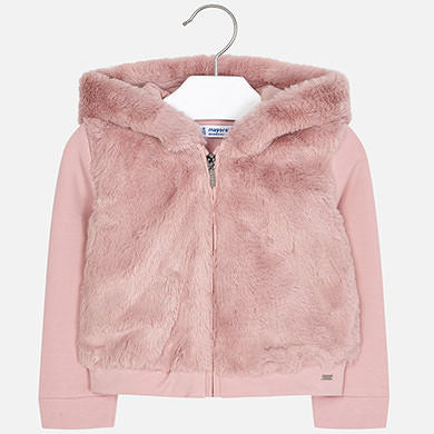 Mayoral Girl Plain Faux Fur Sweatshirt
