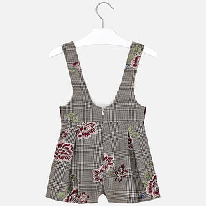 Mayoral Girl Checked Dungaree Skirt and Shirt Set
