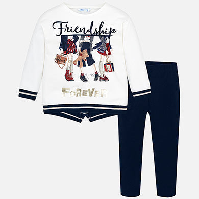 Mayoral Girl Leggings and Friendship Sweatshirt Set