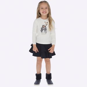 Mayoral Girl Shirt and Ruffle Skirt Set