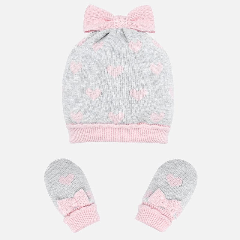 Mayoral Newborn Girl Bow Hat and Mittens Set