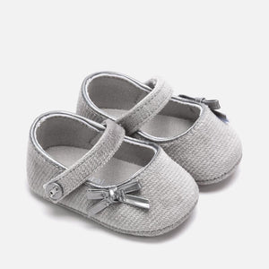 Mayoral Newborn Girl Velvet Mary Jane Shoes