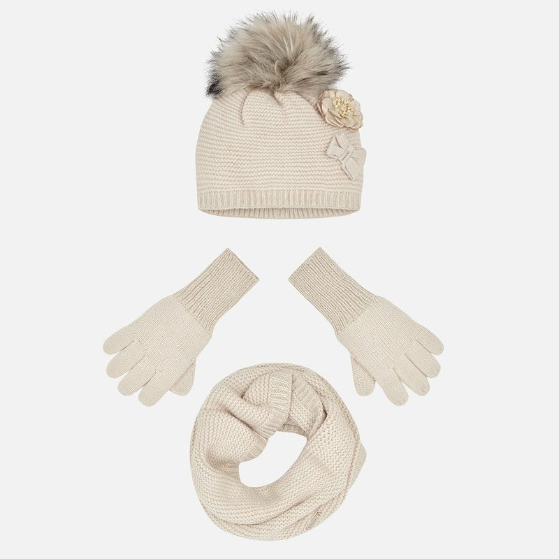 Mayoral Girl Pompom Hat, Gloves and Neck Warmer Scarf Set