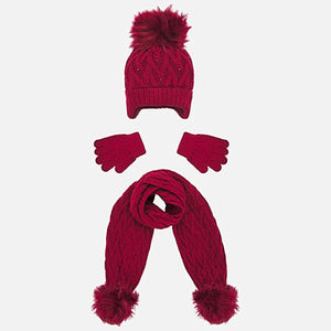 Mayoral Girl Cable Knit Hat, Scarf and Gloves Set