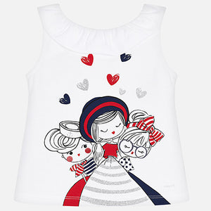 Mayoral Girl Sleeveless T-Shirt with Doll Print
