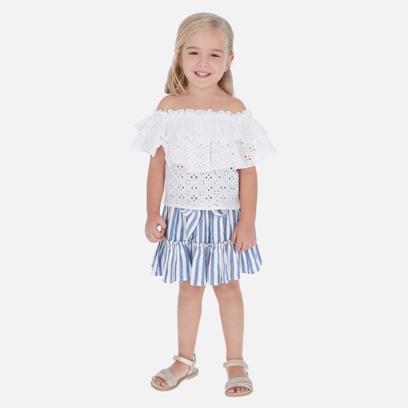 Mayoral Girl Striped Blue Skirt