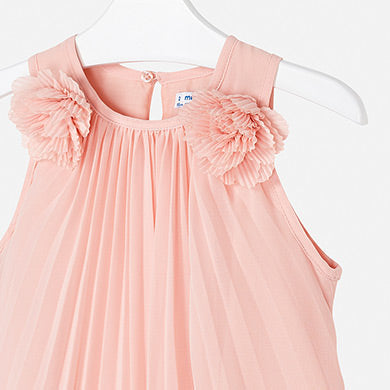 Mayoral Girl Pleated Dress with Flowers