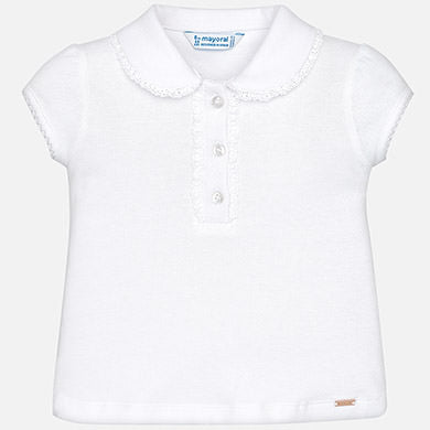 Mayoral Baby Girl Short Sleeve Polo with Frill White Colour