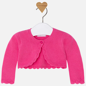 Mayoral Baby Girl Cardigan with Embroidered Openwork Fuchsia Colour