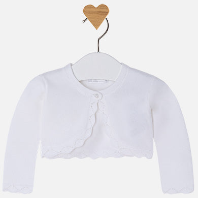 Mayoral Baby Girl Cardigan with Embroidered Openwork White Colour