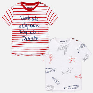 Mayoral Baby Boy Set of Two T-Shirts Cherry Colour