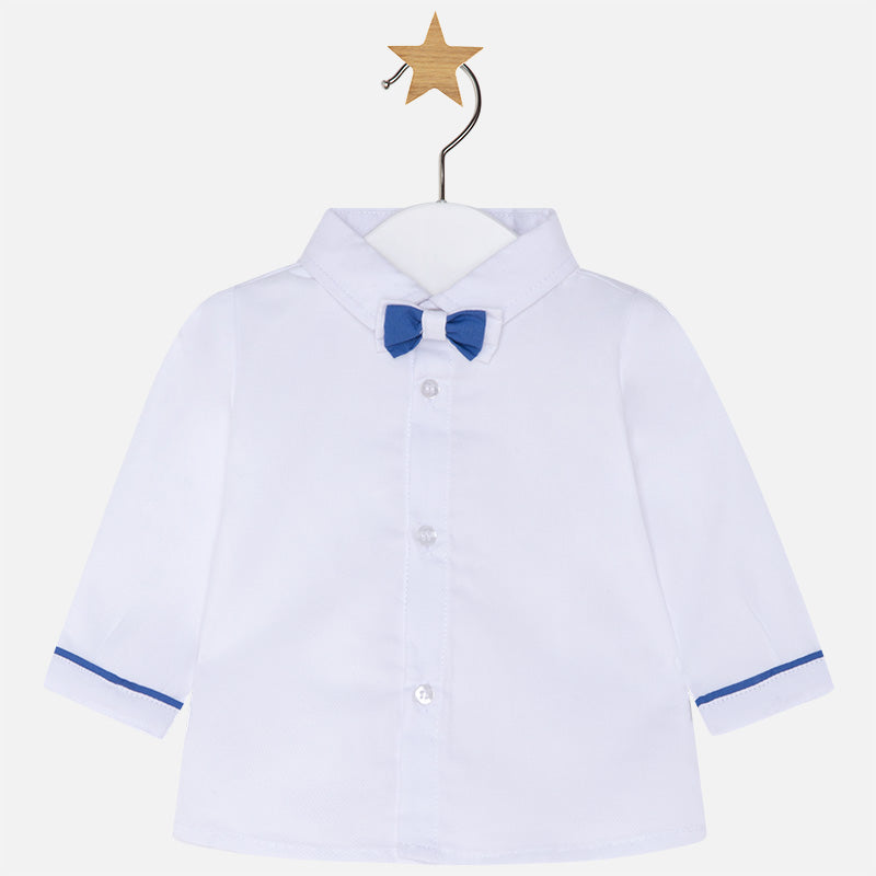 Mayoral Baby Boy Long Sleeve Shirt with Bowtie White Colour