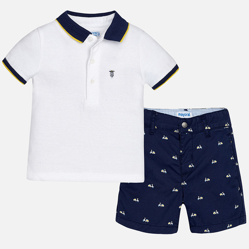 Mayoral Baby Boy Patterned Shorts and Polo Set Azur Colour