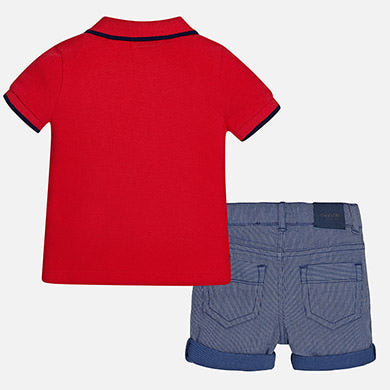 Mayoral Baby Boy Polo and Striped Shorts Set Cherry Colour