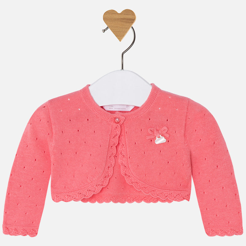 Mayoral Baby Girl Cardigan with Openwork Coral Colour