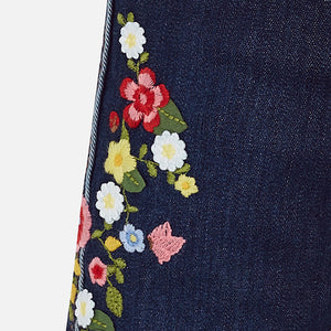 Mayoral Baby Girl Long Denim Pants with Embroidery