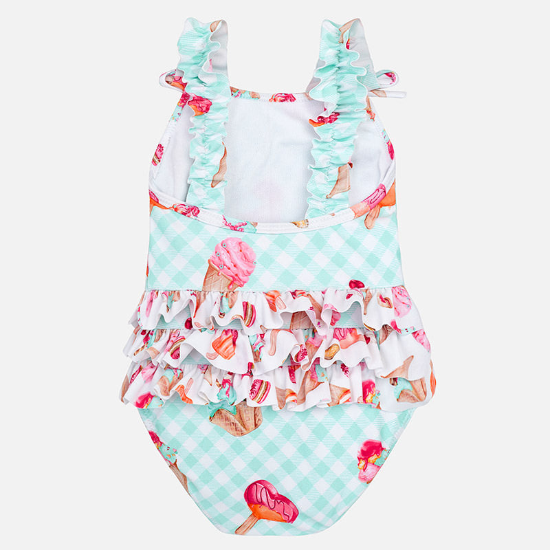 Mayoral Baby Girl Print Swimsuit Turquoise Colour