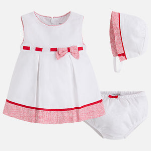 Mayoral Baby Girl Pique Dress with Bonet Poppy Colour