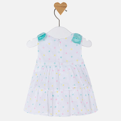 Mayoral Baby Girl Dress with Embroidery Tropical Blue Colour