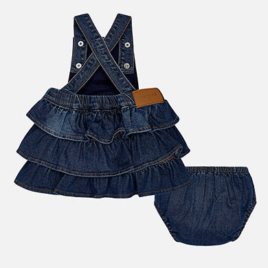 Mayoral Baby Girl Denim Dungaree Dress with Embroideries Denim Colour