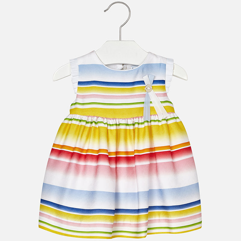 Mayoral Baby Girl Gradient Striped Dress Rainbow Colour
