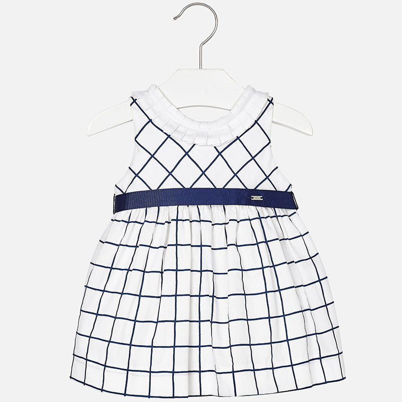 Mayoral Baby Girl Check Dress Navy Blue Colour