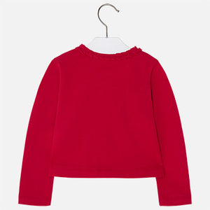 Mayoral Girl Jersey Cardigan with Pleats Red Colour