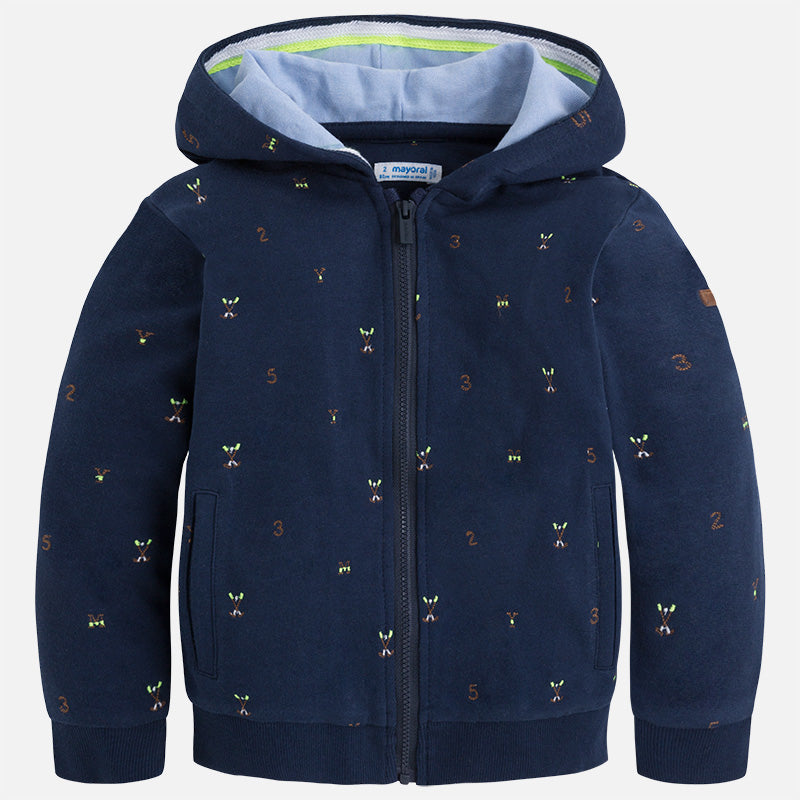 Mayoral Boy Fleece Hoodie with Embroidery Navy Blue Colour