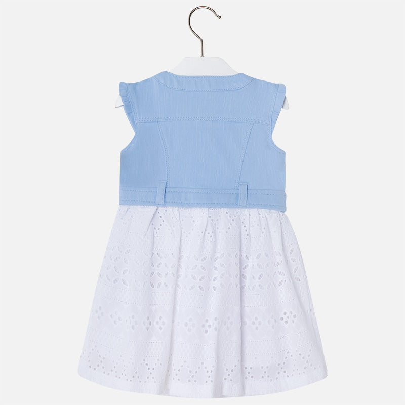 Mayoral Girl Perforated Dress Sky Blue Colour