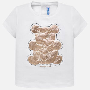 Mayoral Baby Girl Short Sleeved T-Shirt with Lace Bear Design