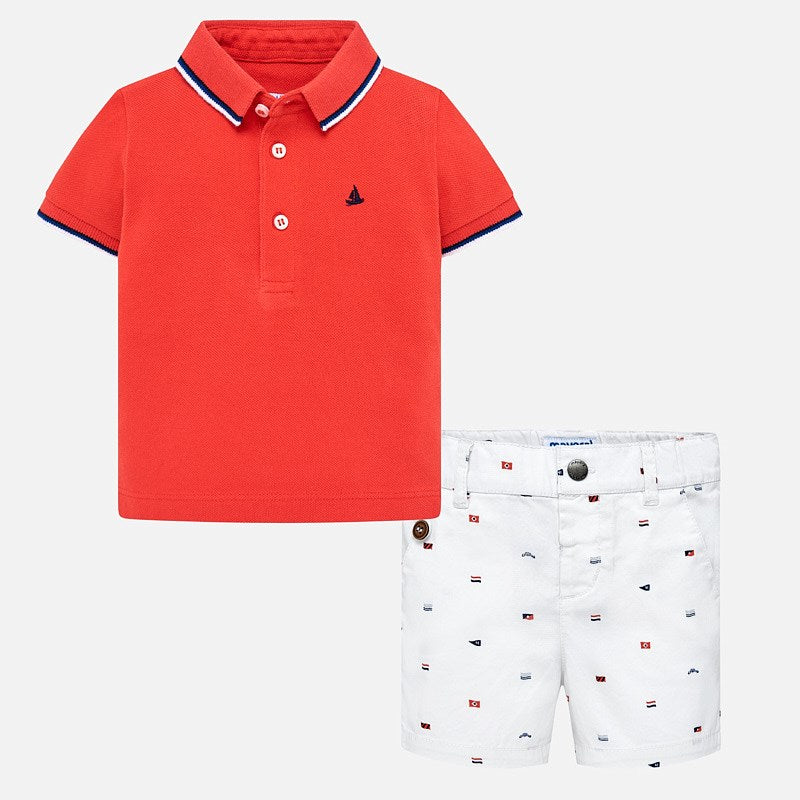 Mayoral Baby Boy Polo Shirt and Patterned Bermuda Shorts Set