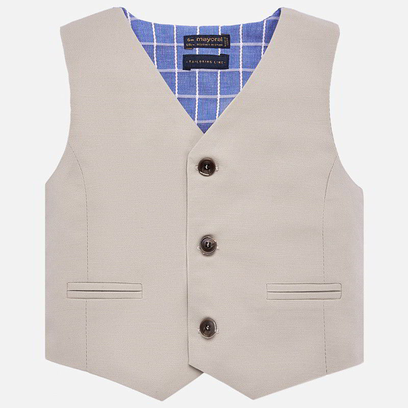 Mayoral Baby Boy Linen Suit Vest - Colour Lavender
