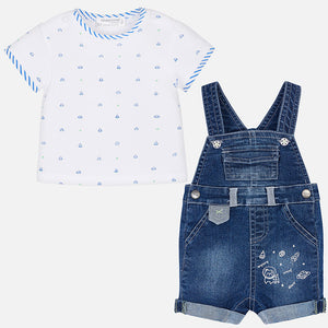 Mayoral Baby Boy T-Shirt and Denim Dungaree Set