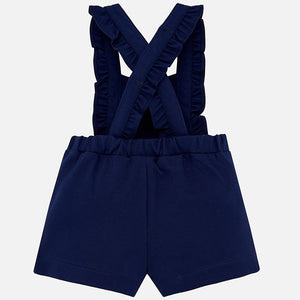 Mayoral Baby Girl Short Ruffled Dungarees and Collared Blouse Set
