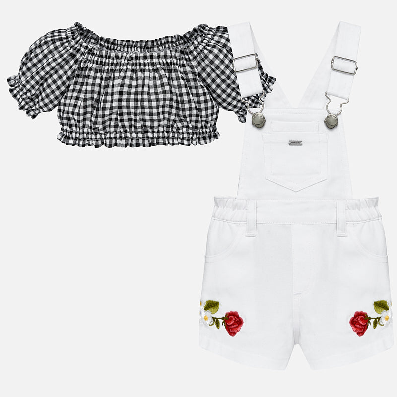 Mayoral Baby Girl Embroidered Dungarees and Top Set