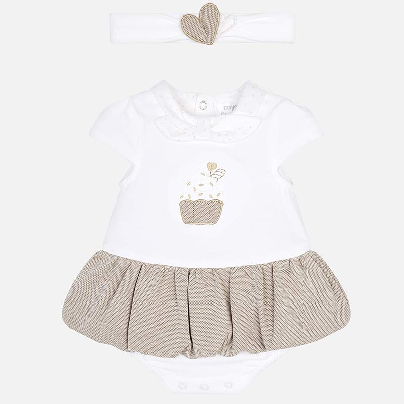 Mayoral Baby Girl Skirted Playsuit with Headband