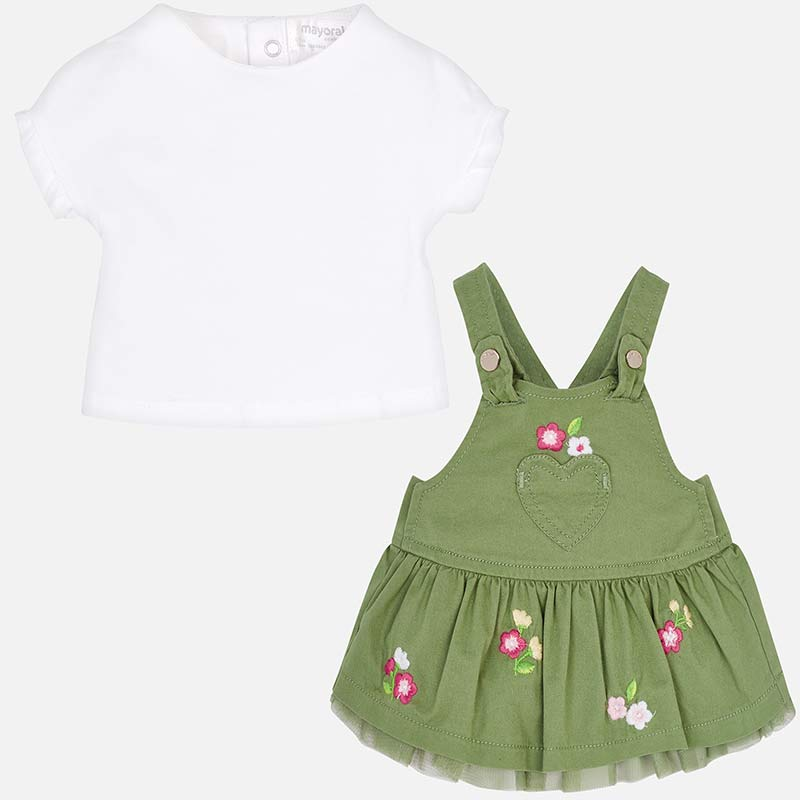 Mayoral Baby Girl Skirt Dungarees and T-Shirt Set