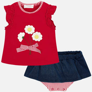 Mayoral Baby Girl Skirt and Appliqued Shirt Set