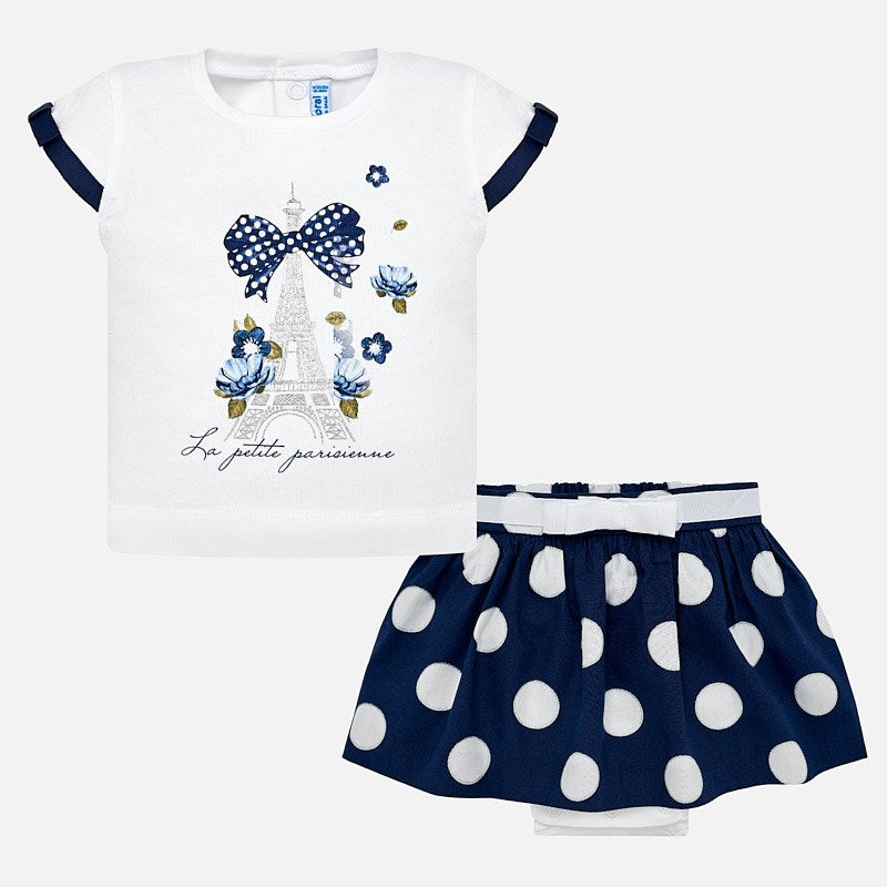 Mayoral Baby Girl Paris T-Shirt and Polka Dot Skirt Set