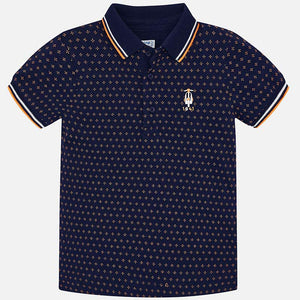 Mayoral Boy Short Sleeved Mini-Patterned Polo Shirt