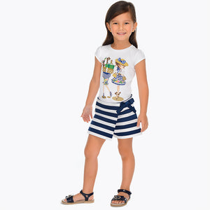 Mayoral Girl Short Sleeved T-shirt and Striped Shorts with Bow Set