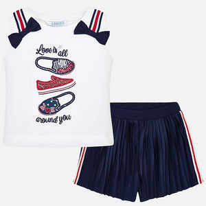 Mayoral Baby Girl T-Shirt and Pleated Shorts Set