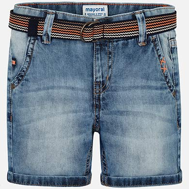 Mayoral  Boy Denim Bermuda Shorts with Belt