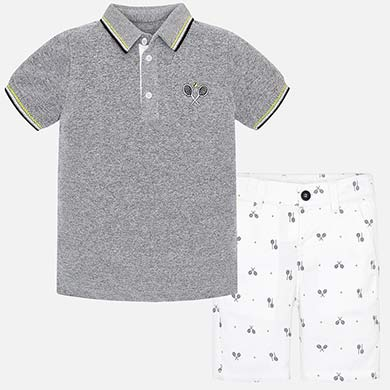 Mayoral Polo Shirt and Bermuda Shorts Contrast Set
