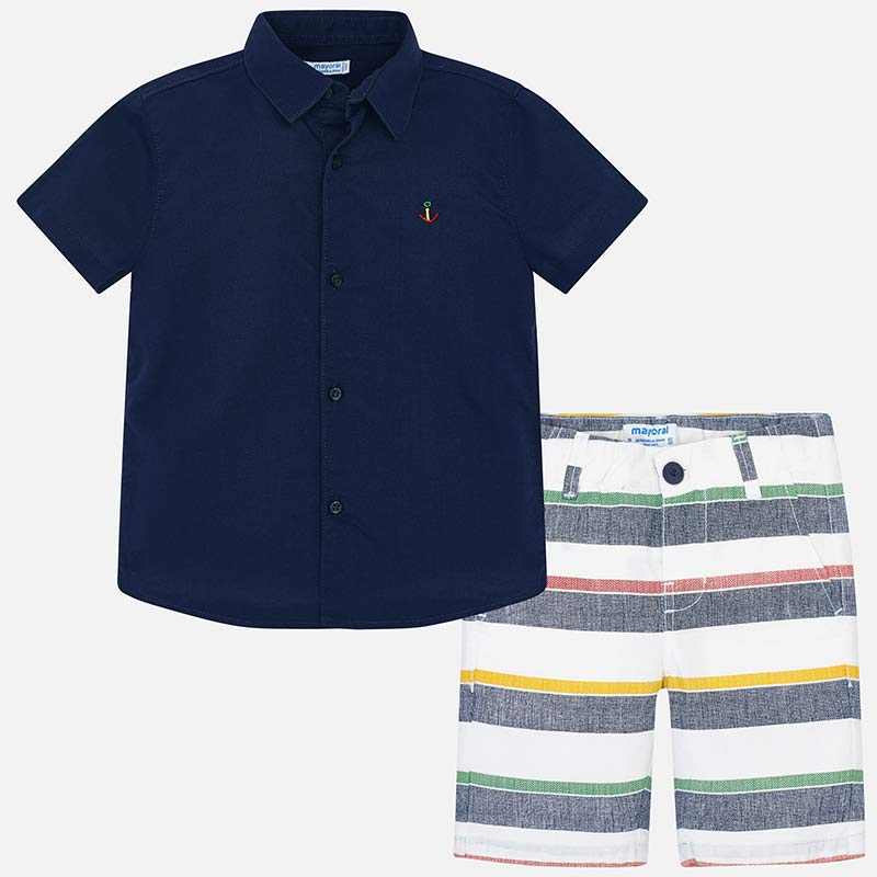 Mayoral Boy Shirt and Striped Bermuda Shorts Set