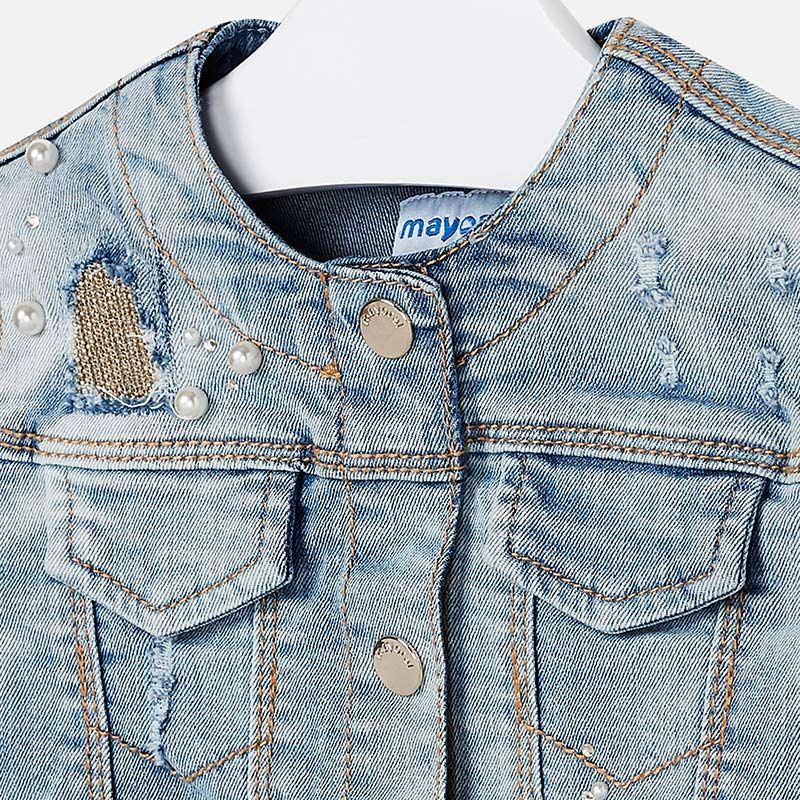 Mayoral Girl Decorated Denim Jacket